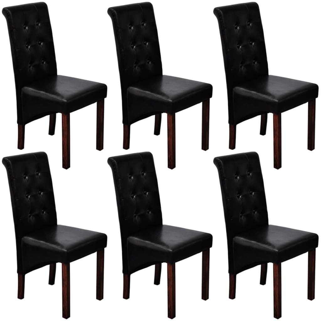 6 pcs artificial leather wood black dining for Wood and leather dining chair