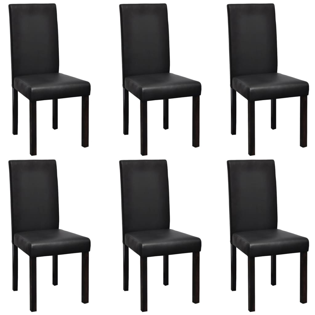 6 Pcs Artificial Leather Wood Black Dining