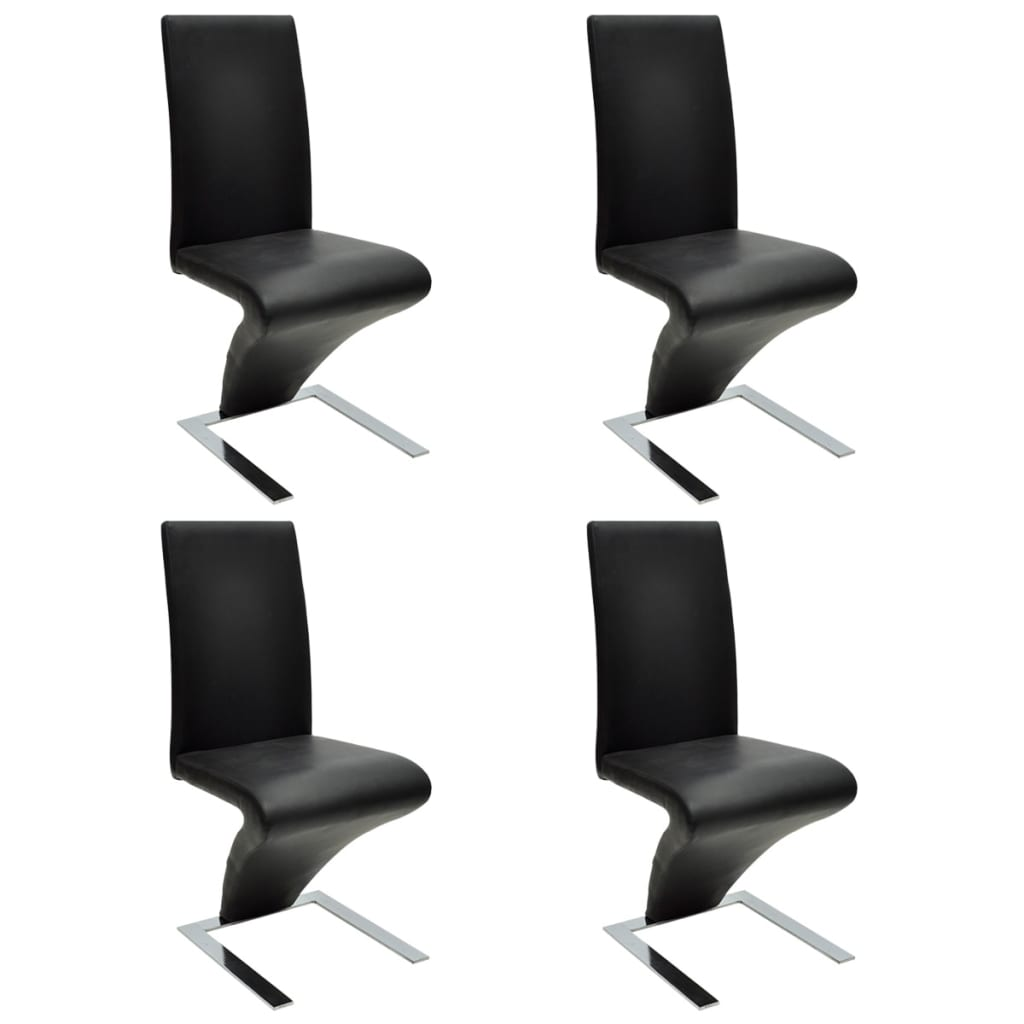 4 pcs artificial leather iron black dining chair zigzag for Dining chair shapes