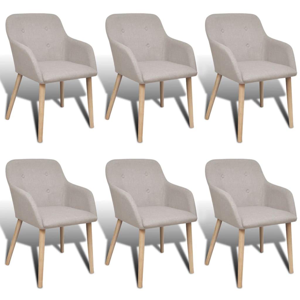 vidaXL Krzesła do jadalni, dębowe ramy, 6 szt., materiałowe