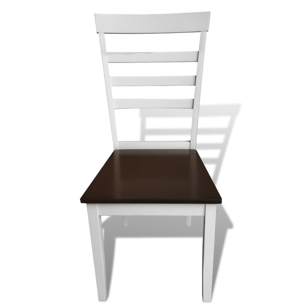 Handla Matbord med 4 stolar i solitt trä brun och vit vidaXL se