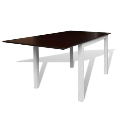 ausziehbarer esszimmertisch mit 6 st hlen braun wei massivholz zum schn ppchenpreis. Black Bedroom Furniture Sets. Home Design Ideas