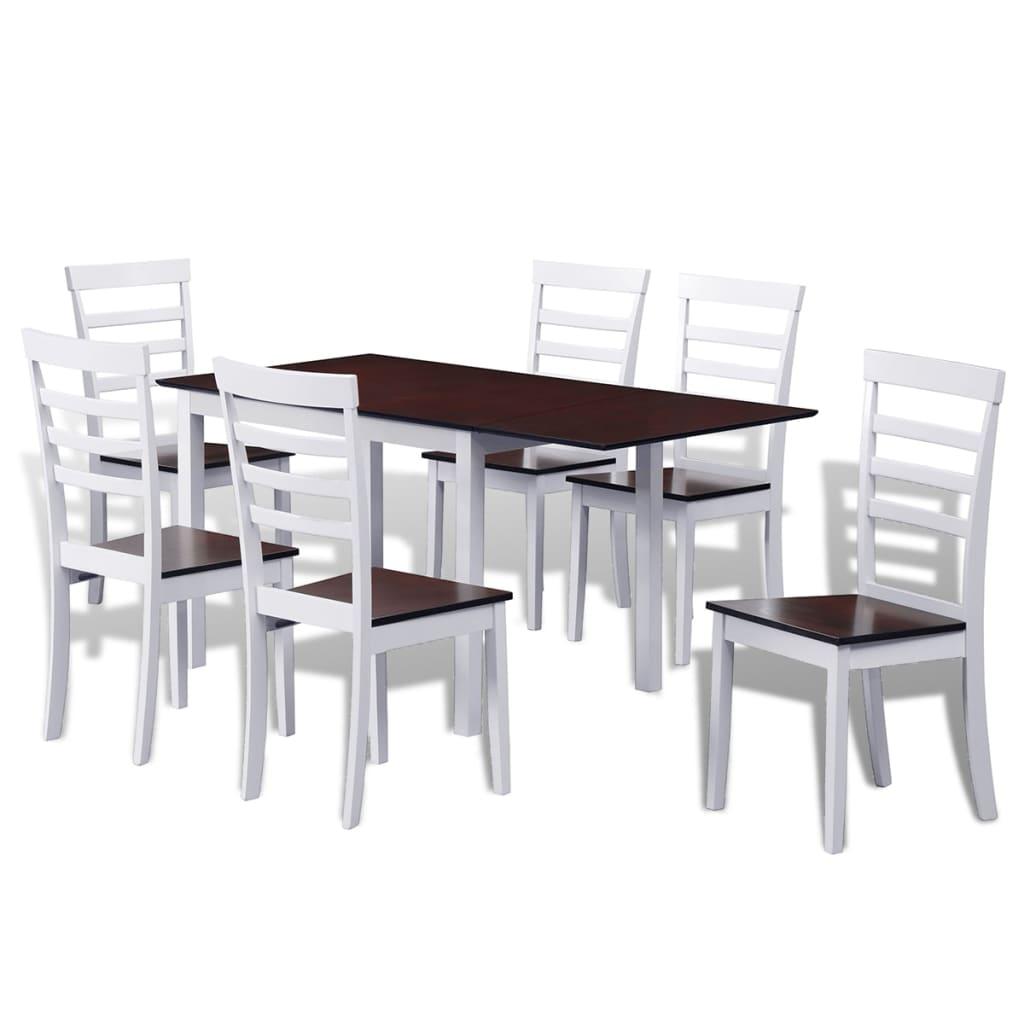vidaXL Barna / fehér meghosszabbítható tömör fa étkező garnitúra 6 db székkel