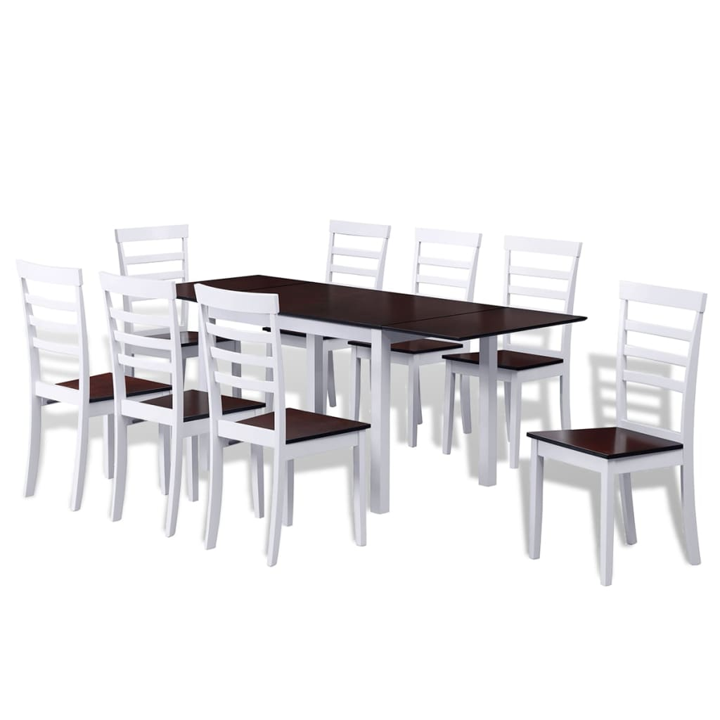 Klaffbord med 8 stolar i solitt trä brun och vit (241693 + 2 x 241695)
