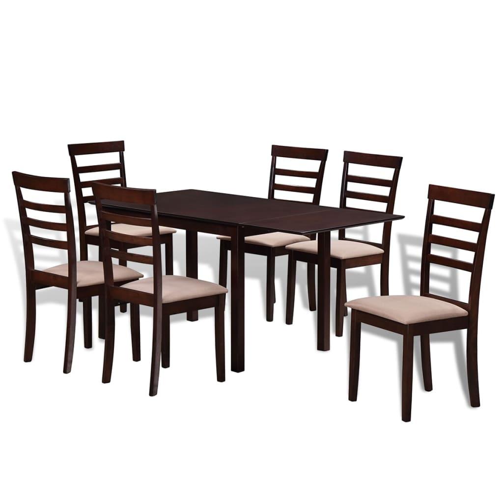 vidaXL Houten uitschuifbare eettafel set met 6 stoelen bruin en crème