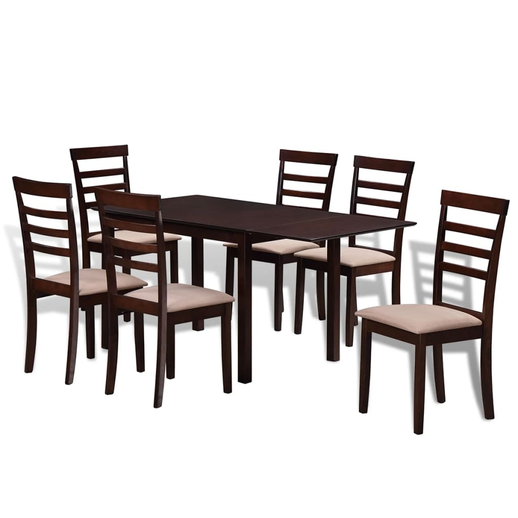 vidaxl houten uitschuifbare eettafel set met 6 stoelen