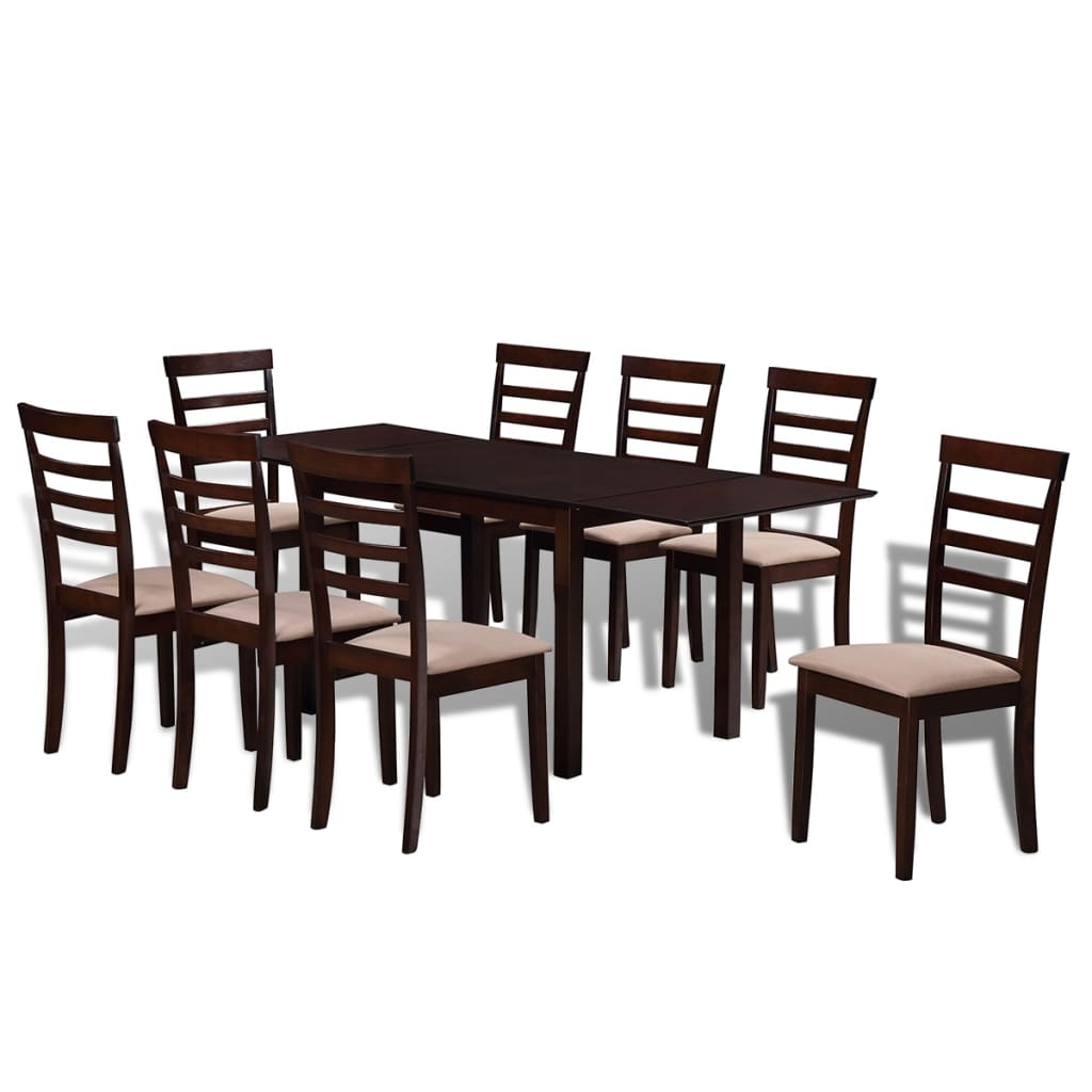 vidaXL Barna / fehér tömör fa étkezőasztal + 8 db székes étkező garnitúra