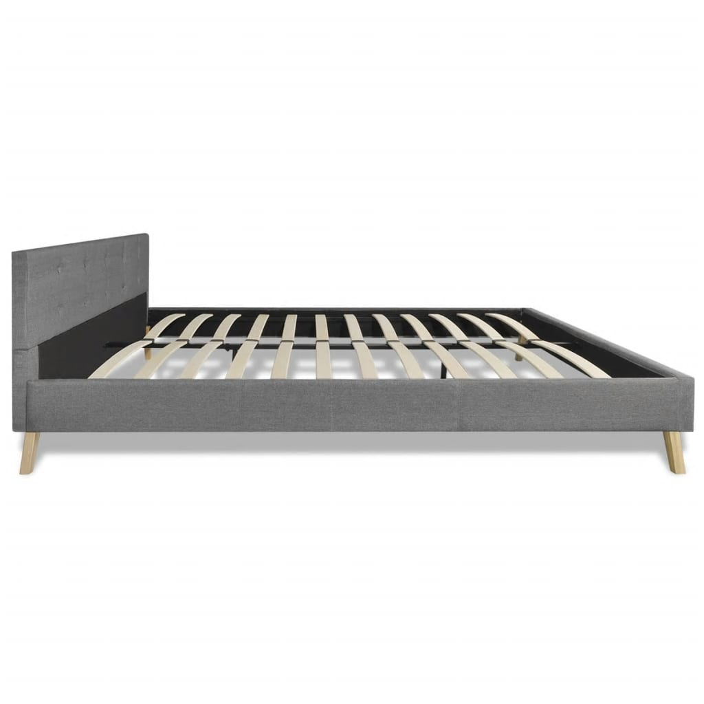 hellgraues bett 200 x 140 cm holz mit stoffbezug matratze g nstig kaufen. Black Bedroom Furniture Sets. Home Design Ideas