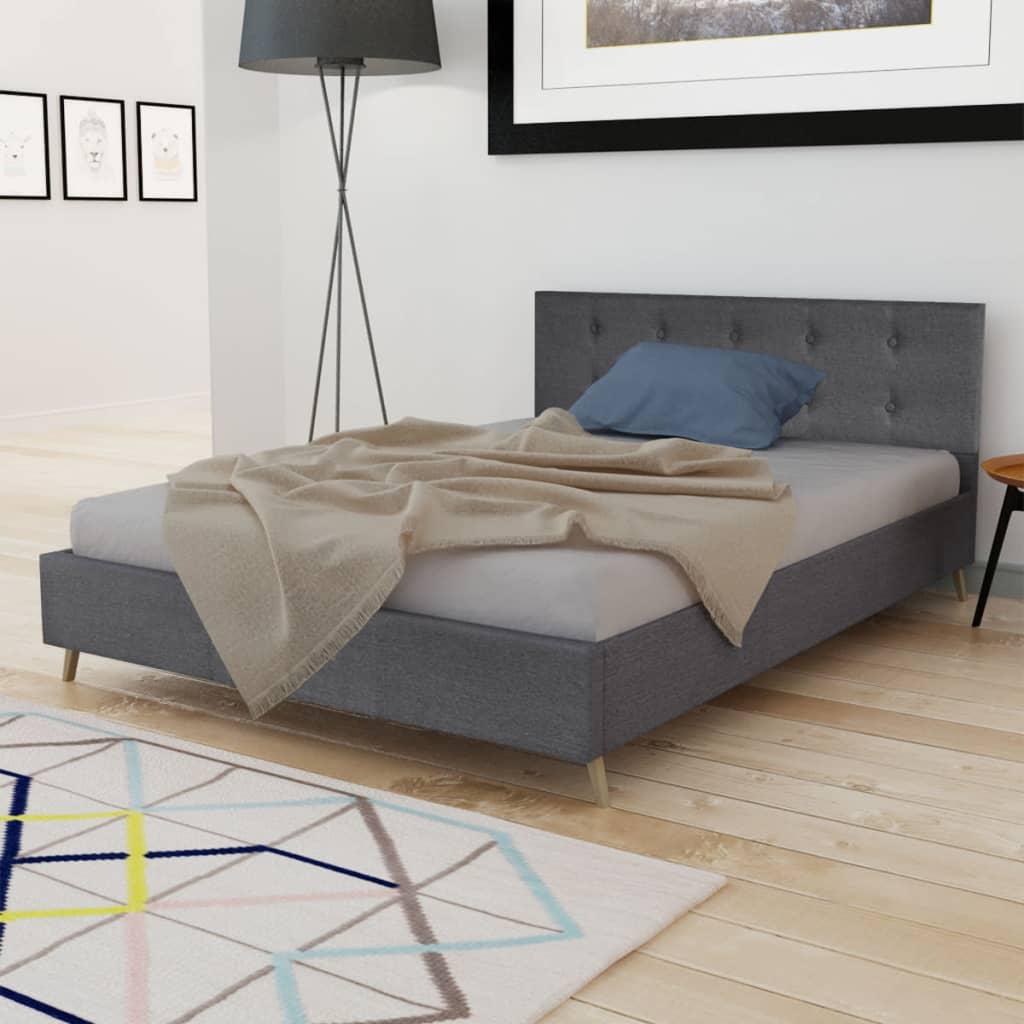 acheter lit en bois 200 x 140 cm avec rev tement en tissu gris fonc matelas pas cher. Black Bedroom Furniture Sets. Home Design Ideas