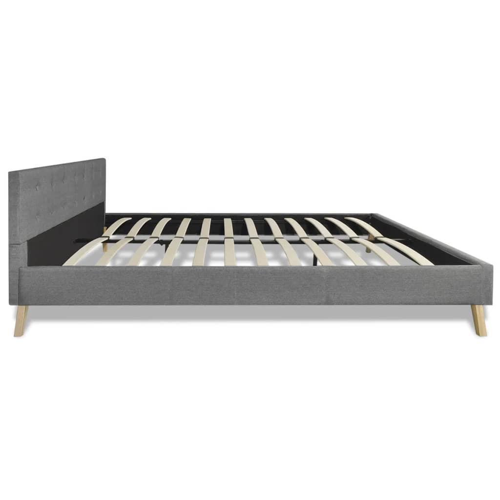acheter lit en bois 200 x 180 cm avec rev tement en tissu gris clair matelas pas cher. Black Bedroom Furniture Sets. Home Design Ideas