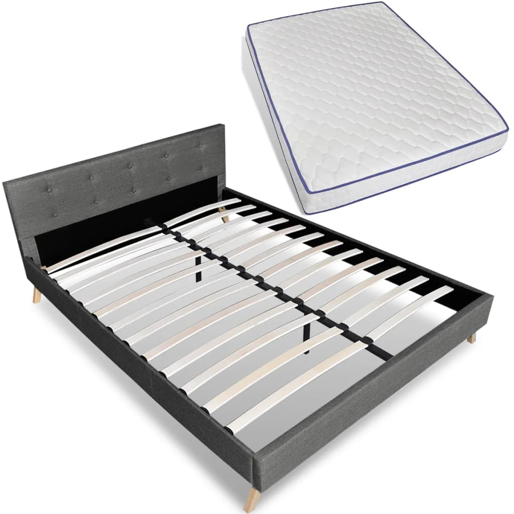 vidaXL Bed hout lichtgrijze stof + traagschuim matras 200 x 140 cm