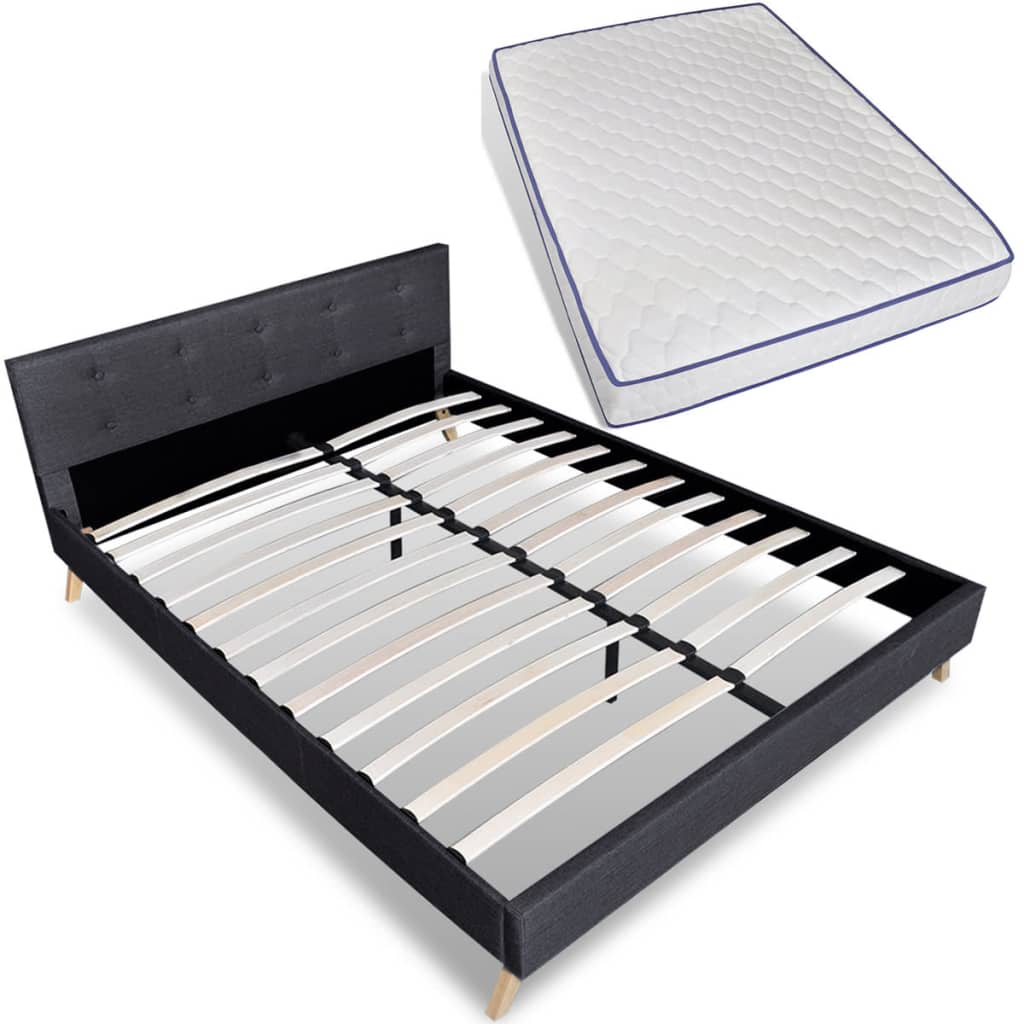 vidaXL Bed hout donkergrijze stof + traagschuim matras 200 x 140 cm