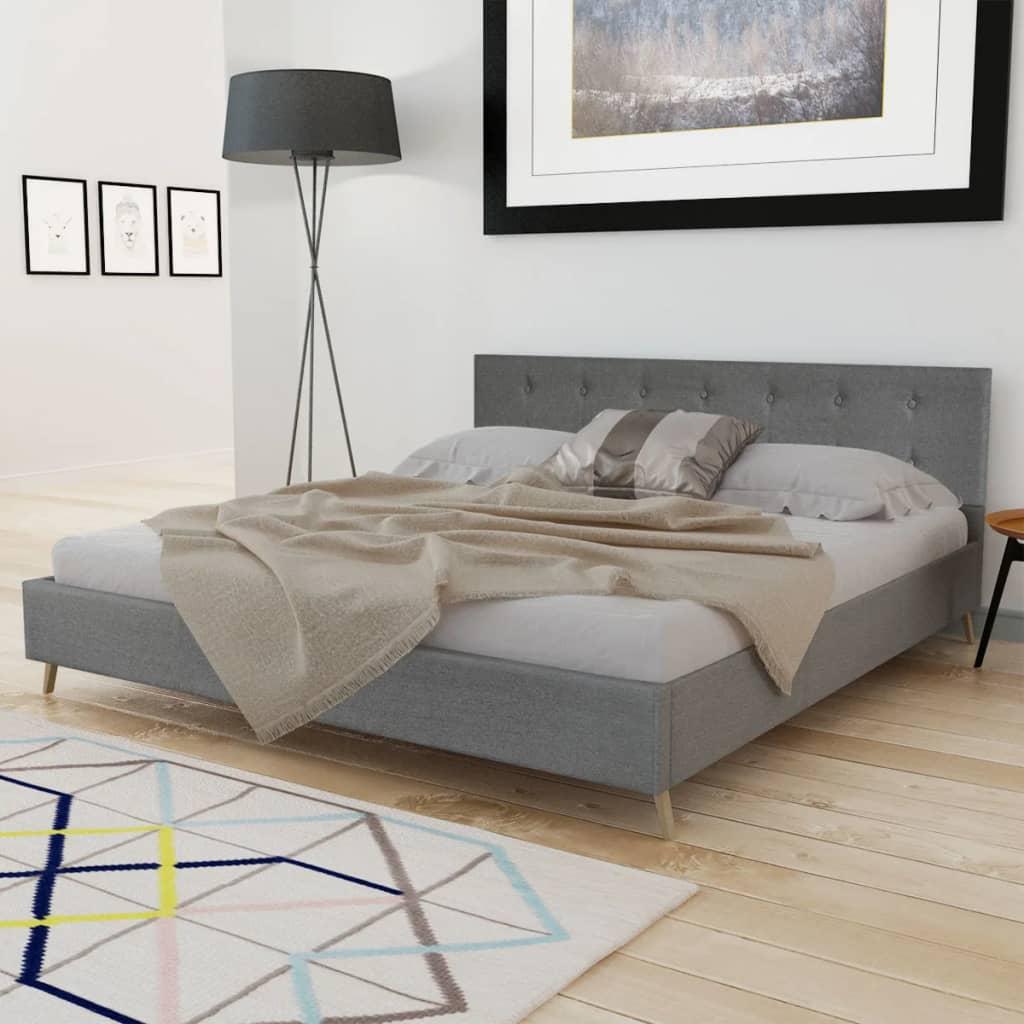acheter lit bois 180cm tissu gris clair matelas m moire surmatelas pas cher. Black Bedroom Furniture Sets. Home Design Ideas
