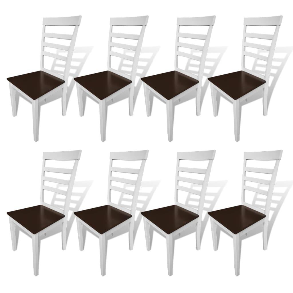 vidaXL 8 db barna / fehér tömör fa étkezőszék