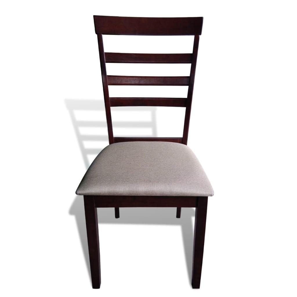 Acheter lot de 6 chaises marron cr me en bois massif pas - Lot de 6 chaises en bois ...