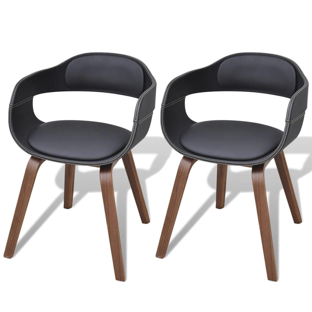 vidaXL Krzesła do jadalni, 2 szt., gięta rama z drewna i eko-skóra