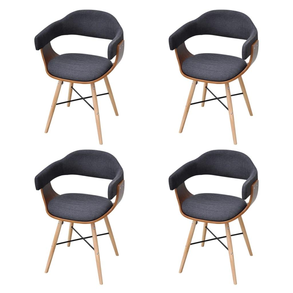 Silla de comedor bentwood con tapicer a de tela 4 unidades - Tapiceria para sillas ...