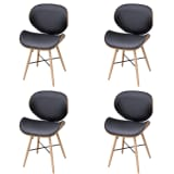 4 pcs Armless Dining Chair with Bentwood Frame