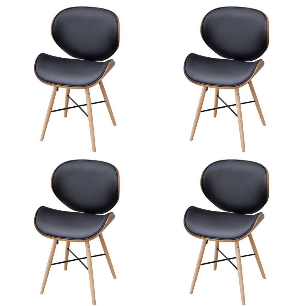 vidaXL Krzesła jadalniane z drewnianą ramą x4