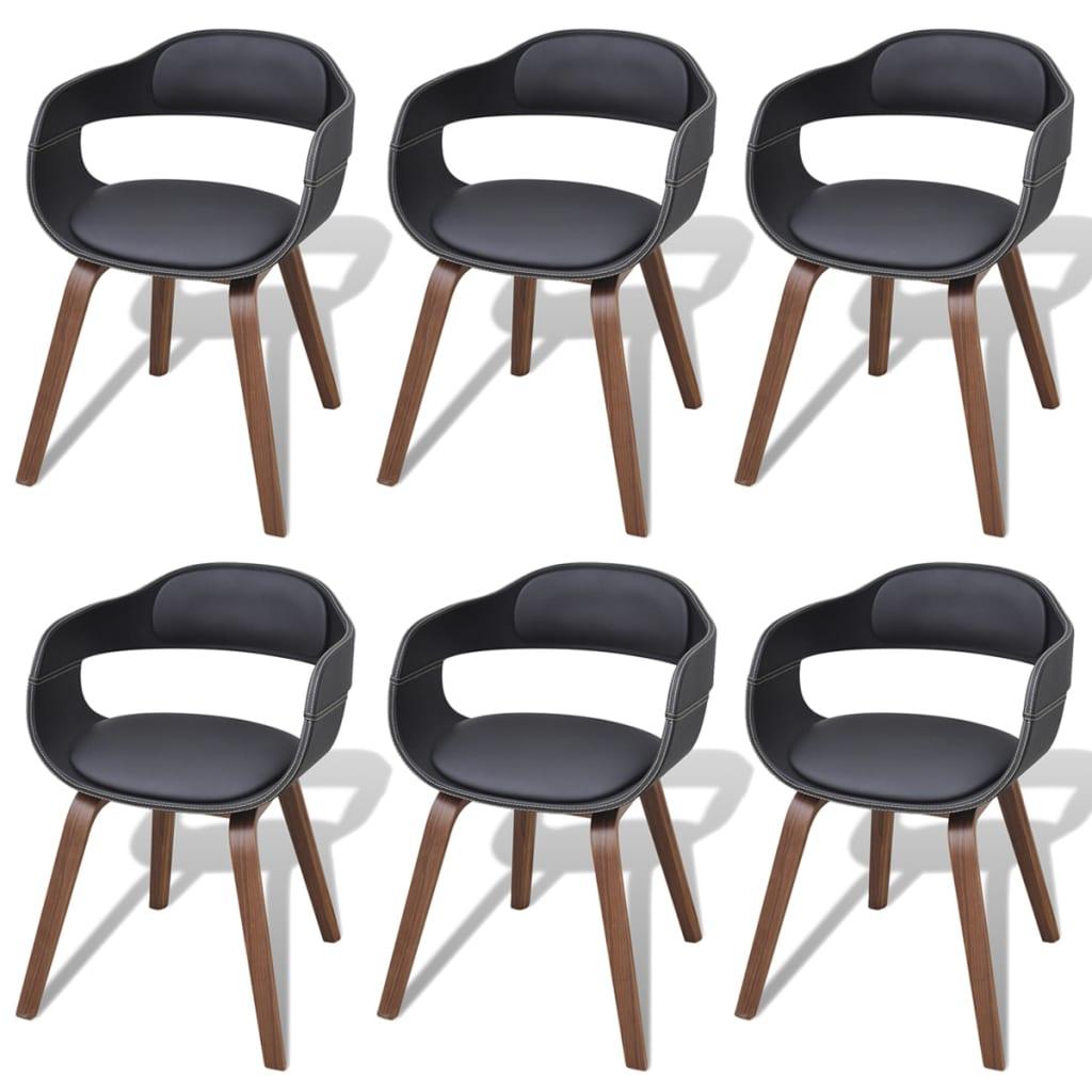 vidaXL Krzesła do jadalni, 6 szt., gięte drewno i skóra syntetyczna