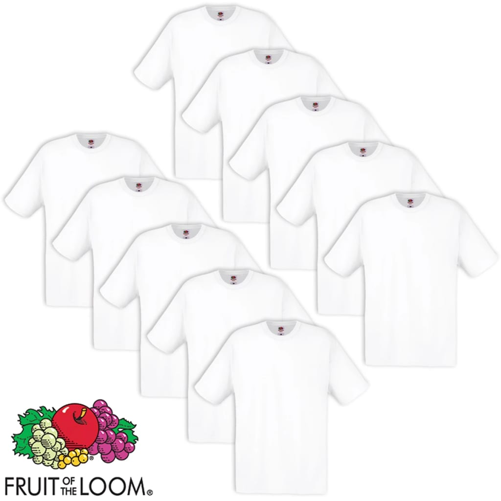 Lot-de-5-10-t-shirts-noirs-blancs-100-coton-Fruit-of-the-Loom-Original