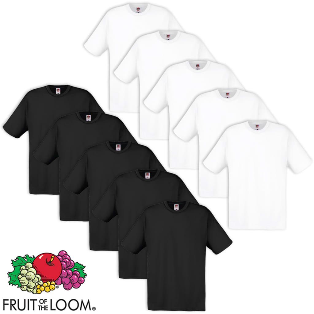 Fruit of the Loom 10db eredeti 100% pamut rövid ujjú L fehér/fekete