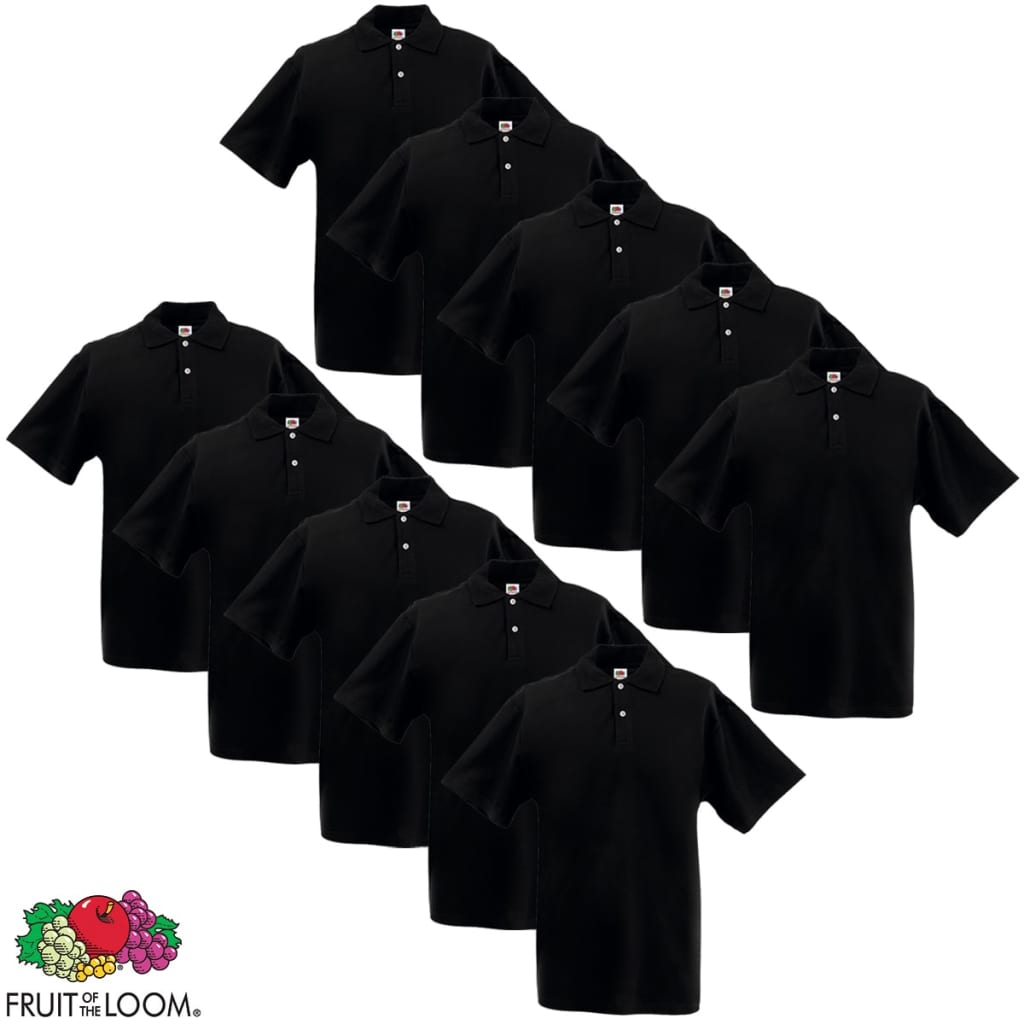 10 camisetas polo para hombres Fruit of the Loom, talla M, Negro manga corta