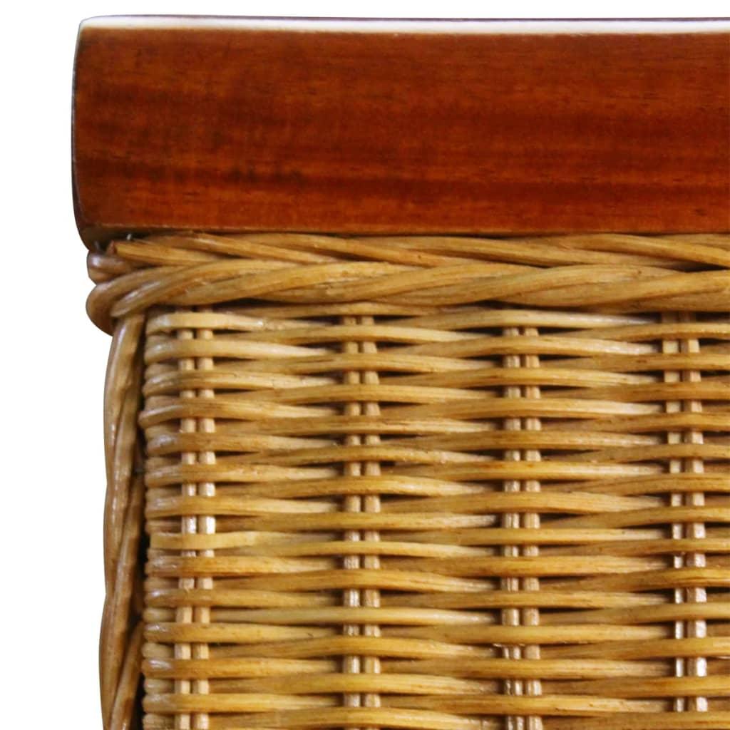 Set 4 sedie da tavola in tessuto di rattan con decorazioni - Decorazioni legno ...