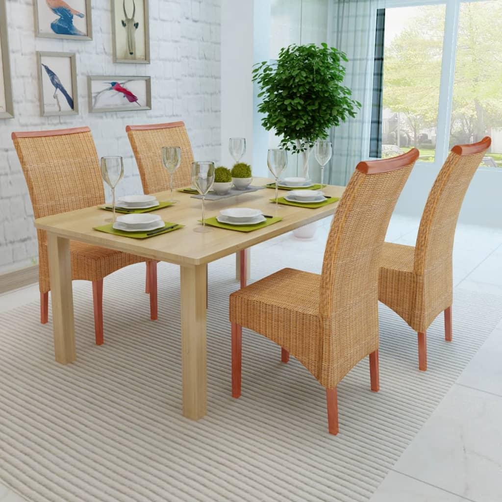 Set 4 sedie da tavola in tessuto di rattan con decorazioni for Tavola e sedie
