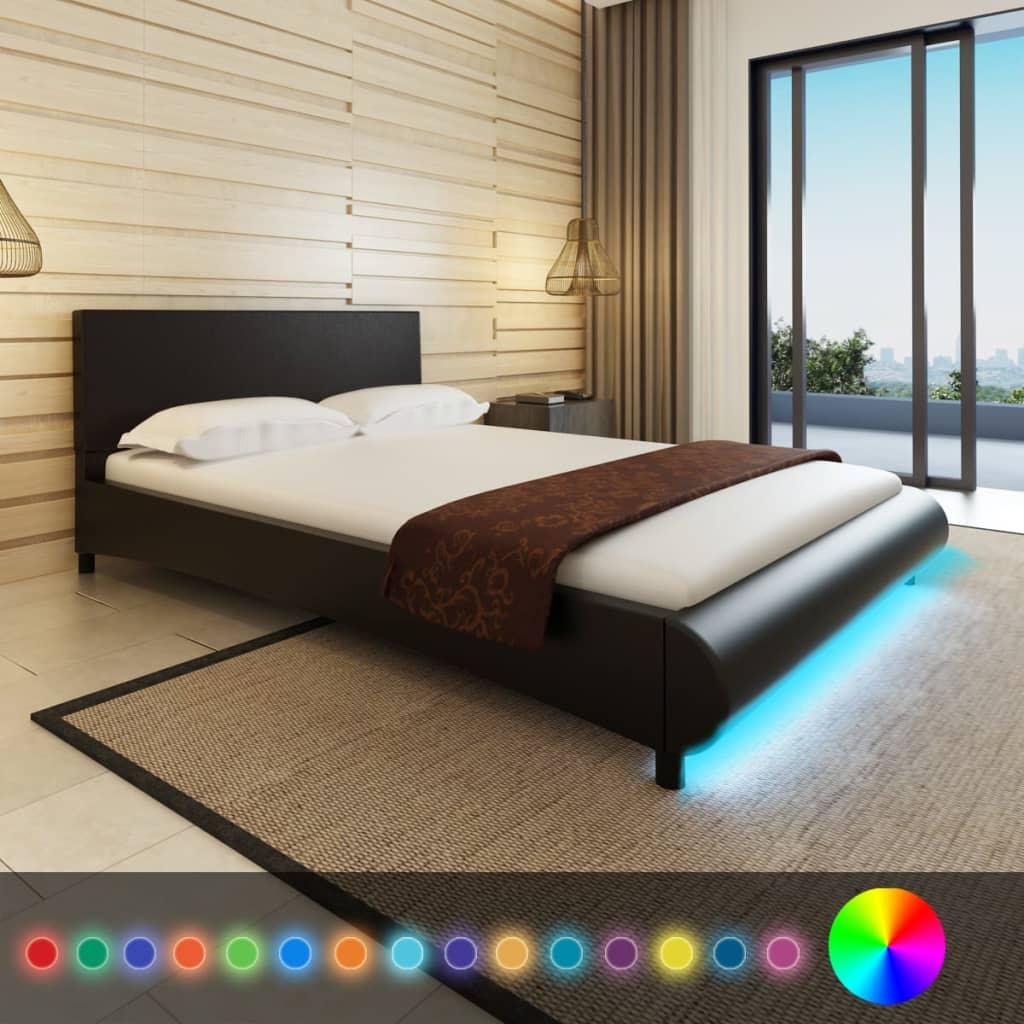 vidaXL Műbőr ágy matraccal és LED csíkkal 140 x 200 fekete