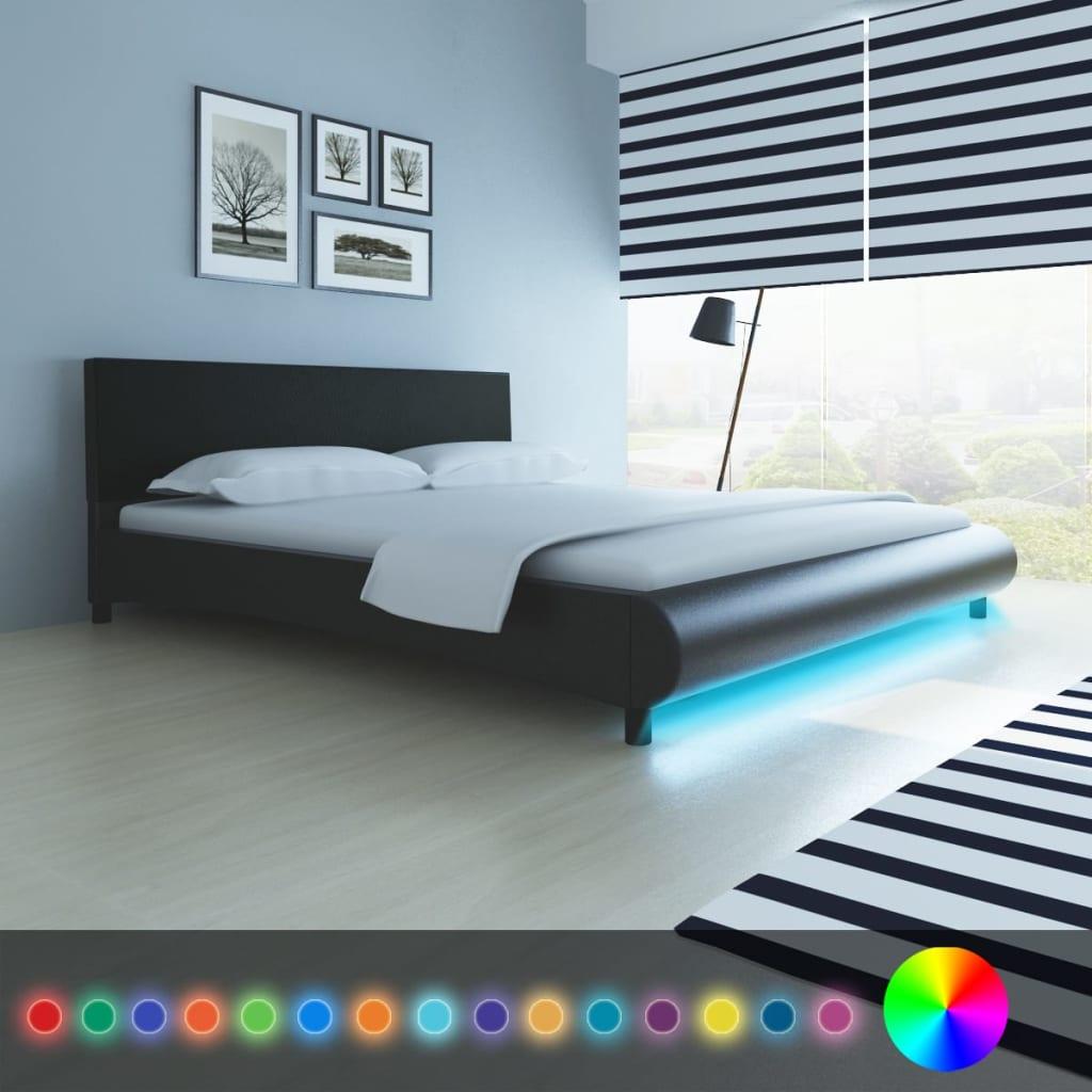 acheter lit en cuir artificiel 180 x 200 cm avec bande led. Black Bedroom Furniture Sets. Home Design Ideas