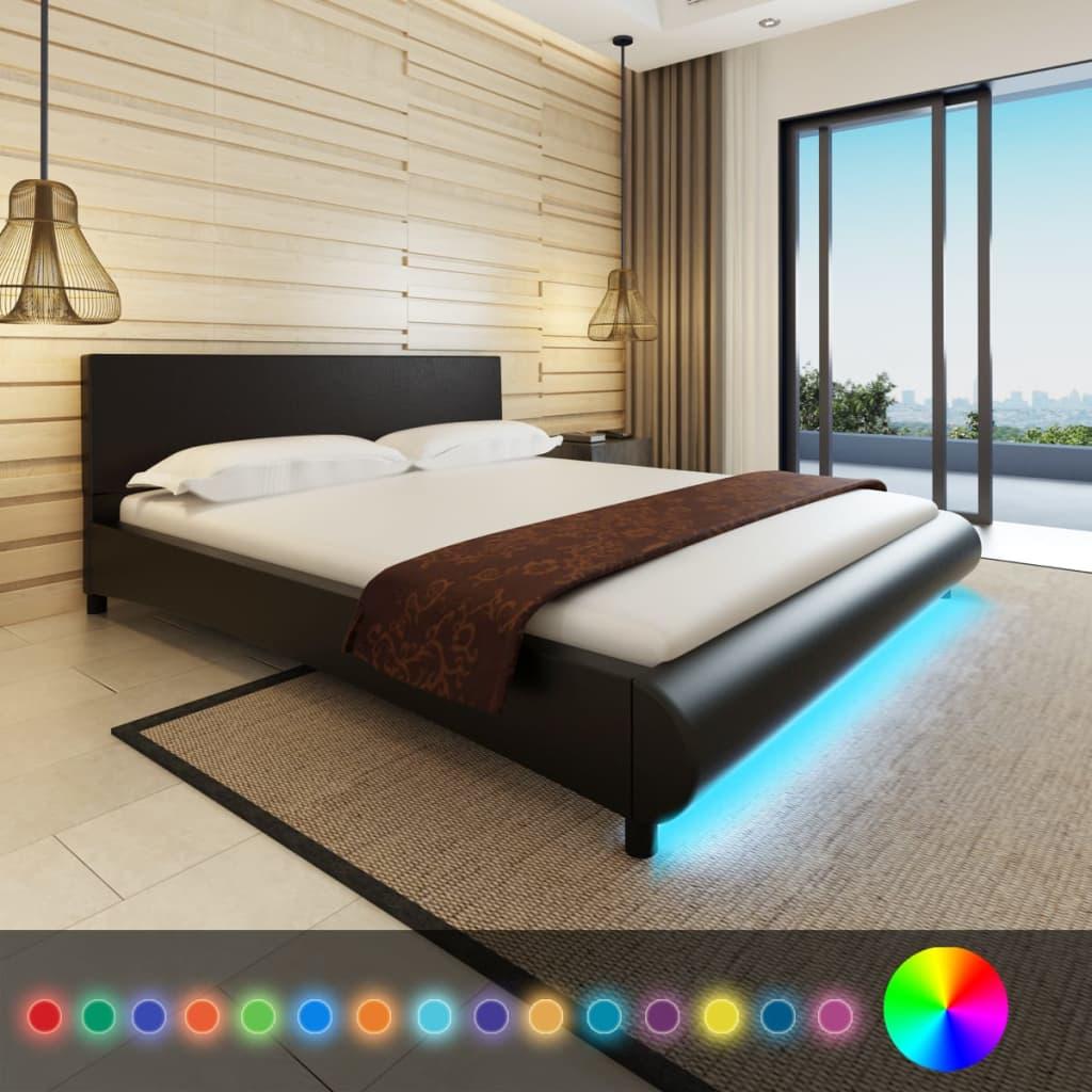 vidaXL Műbőr ágy matraccal és LED csíkkal 180 x 200 fekete