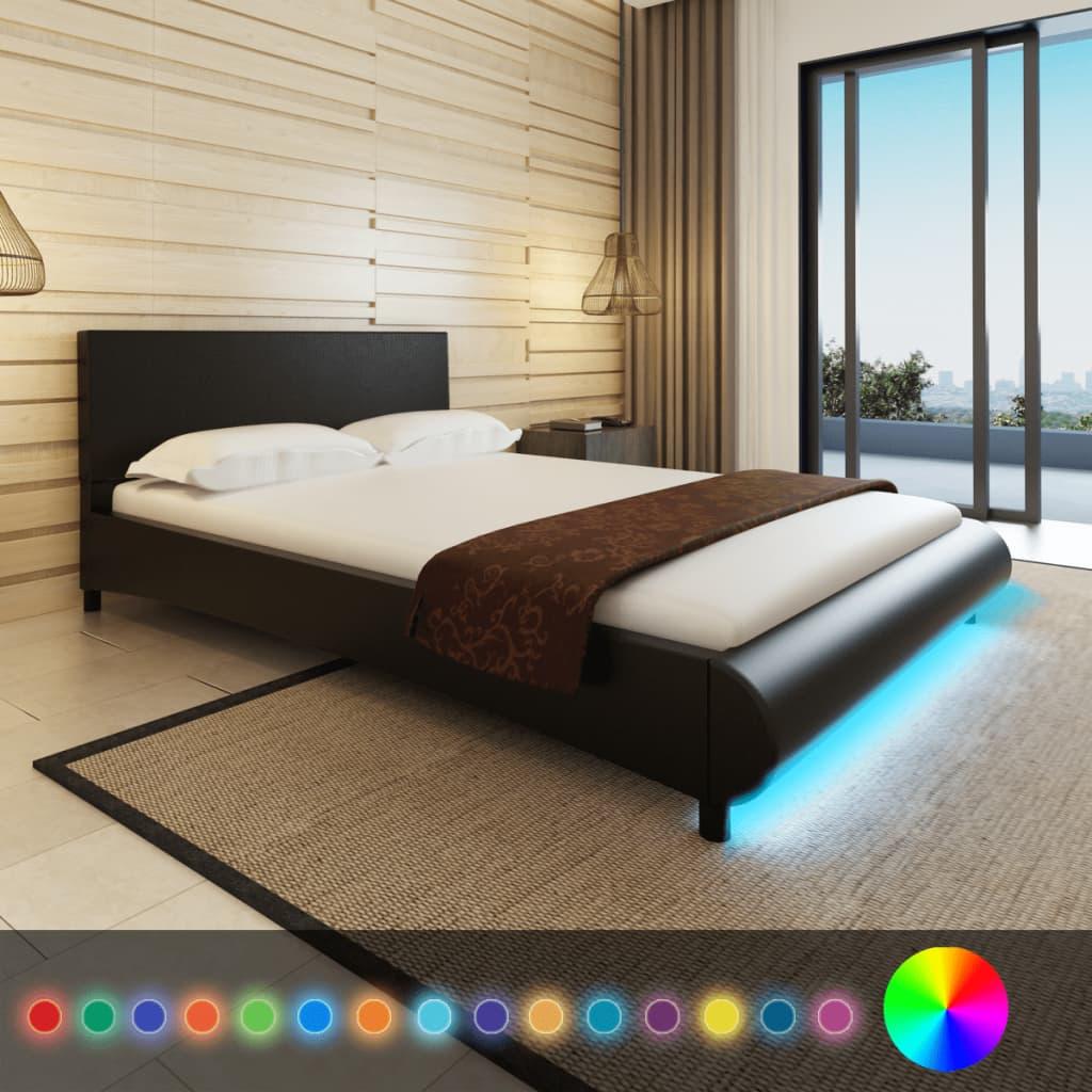 vidaXL Műbőr ágy memóriahabos matraccal és LED csíkkal 140 x 200 fekete