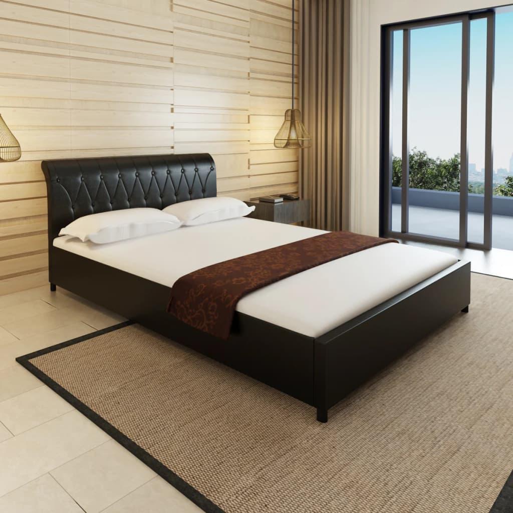 vidaXL Tűzött gombos műbőr ágy matraccal 140 x 200 cm fekete