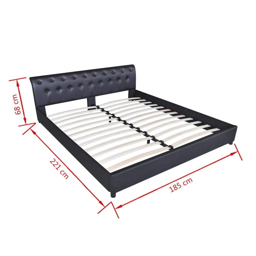 Kunstleder bett mit knopfpolsterung 180 x 200 cm schwarz for Bett 60 x 180