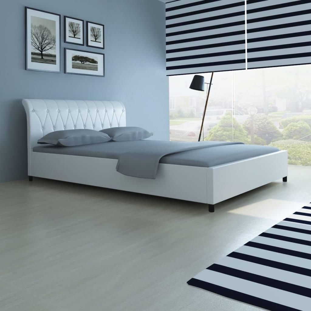 kunstlederbett mit kn pfen 140x200 wei memory matratze obermatratze g nstig kaufen. Black Bedroom Furniture Sets. Home Design Ideas