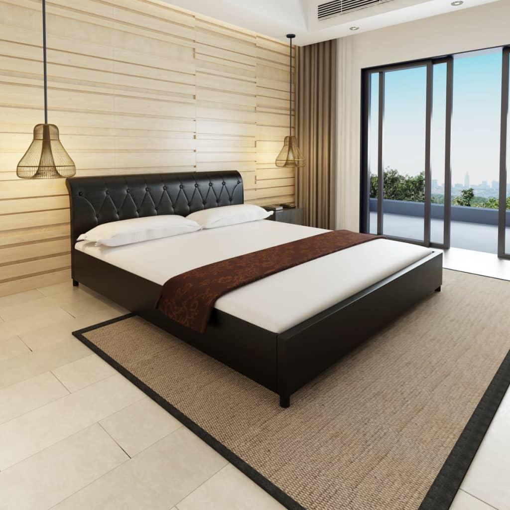 acheter lit capitonn en cuir artificiel noir 180 cm matelas surmatelas pas cher. Black Bedroom Furniture Sets. Home Design Ideas