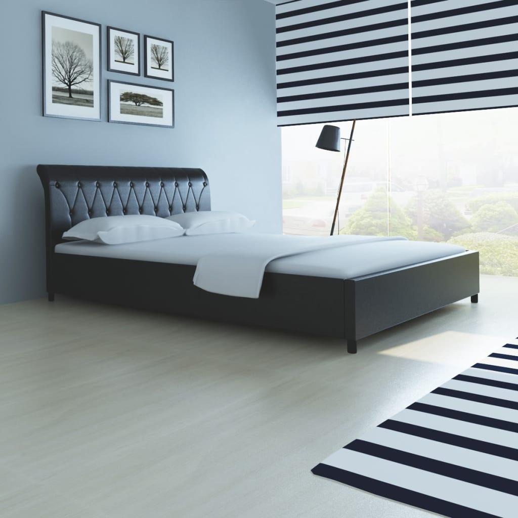 acheter lit capitonn en cuir artificiel noir 140 cm matelas surmatelas pas cher. Black Bedroom Furniture Sets. Home Design Ideas