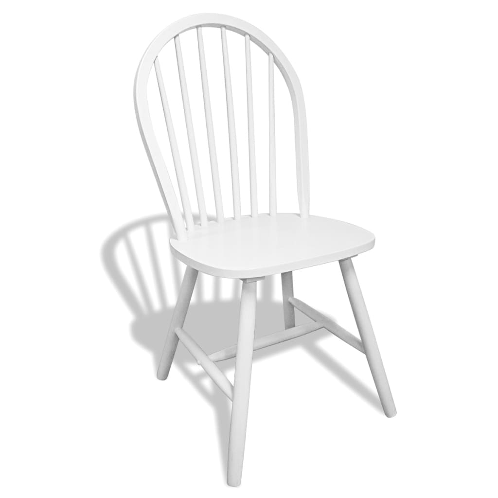 6 wooden dining chairs round white for Chaise a barreaux