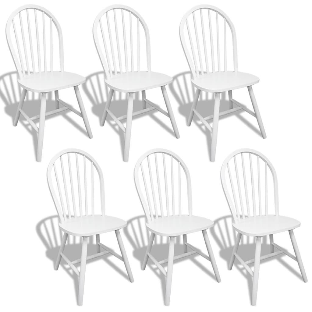 Silla de comedor de madera blanca con respaldo redondo 6 for Comedor de madera 6 sillas