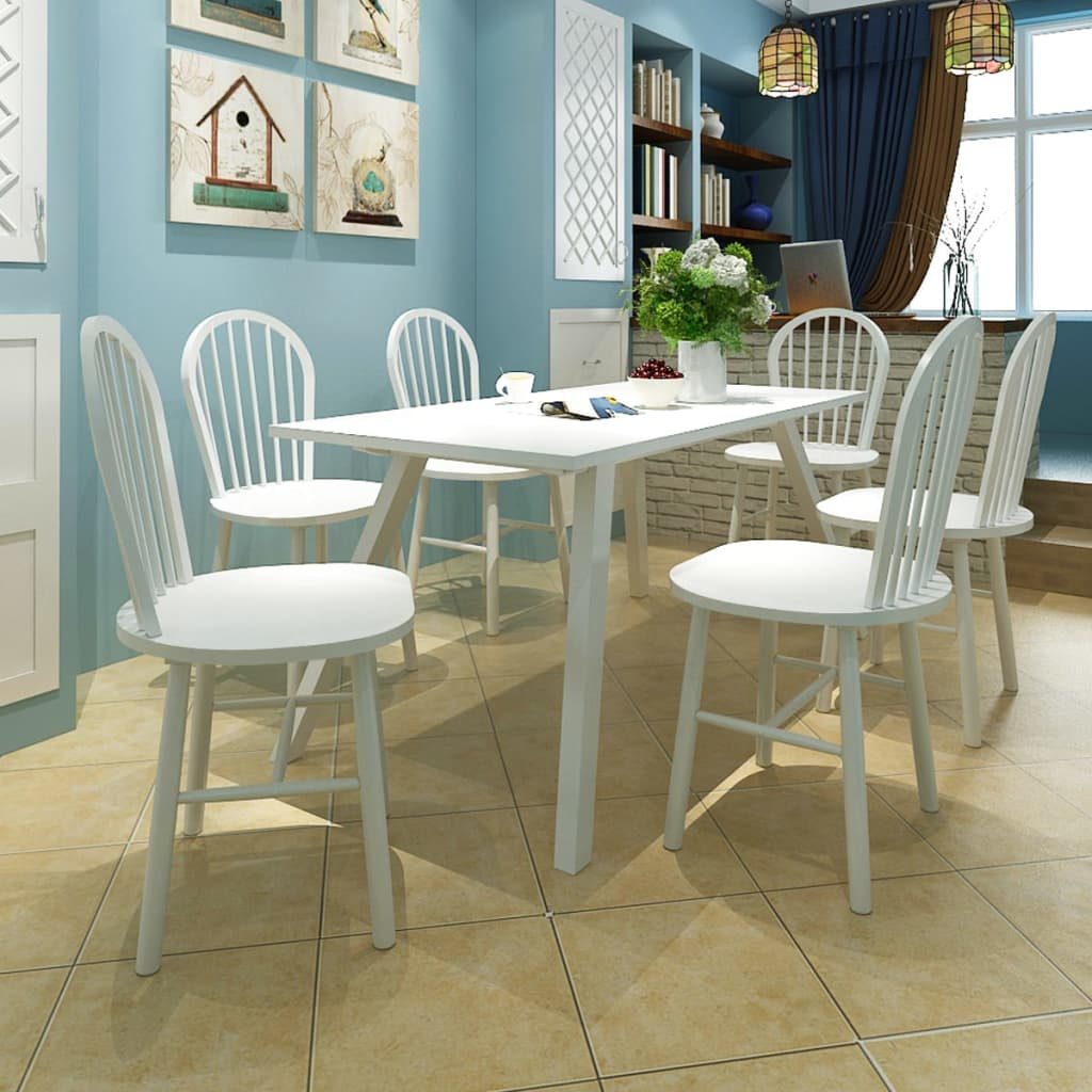 Image is loading vidaxl 6x dining chairs wood white round home