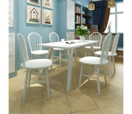 Silla de comedor de madera blanca con respaldo redondo 6 for Comedor redondo 6 sillas