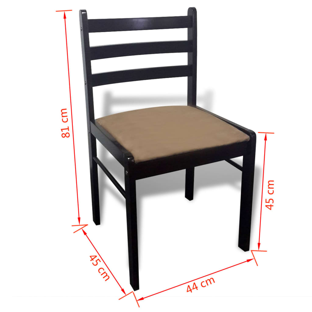 Acheter lot de 6 chaises de salle manger en bois carr e marron pas cher - Lot de 6 chaises salle a manger ...