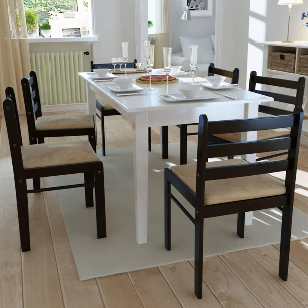 Set 6 sillas de comedor de madera con forma cuadrada for Sillas comedor marron