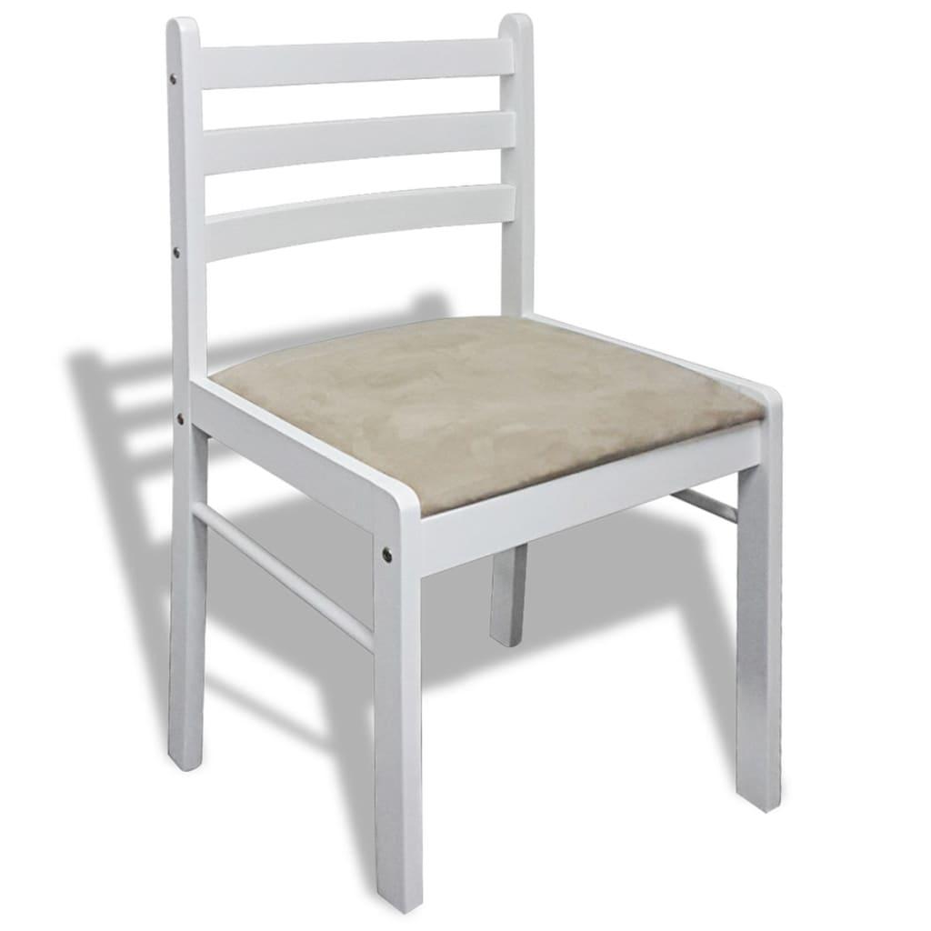 Acheter lot de 6 chaises de salle manger en bois carr e blanche pas cher for Salle a manger en solde