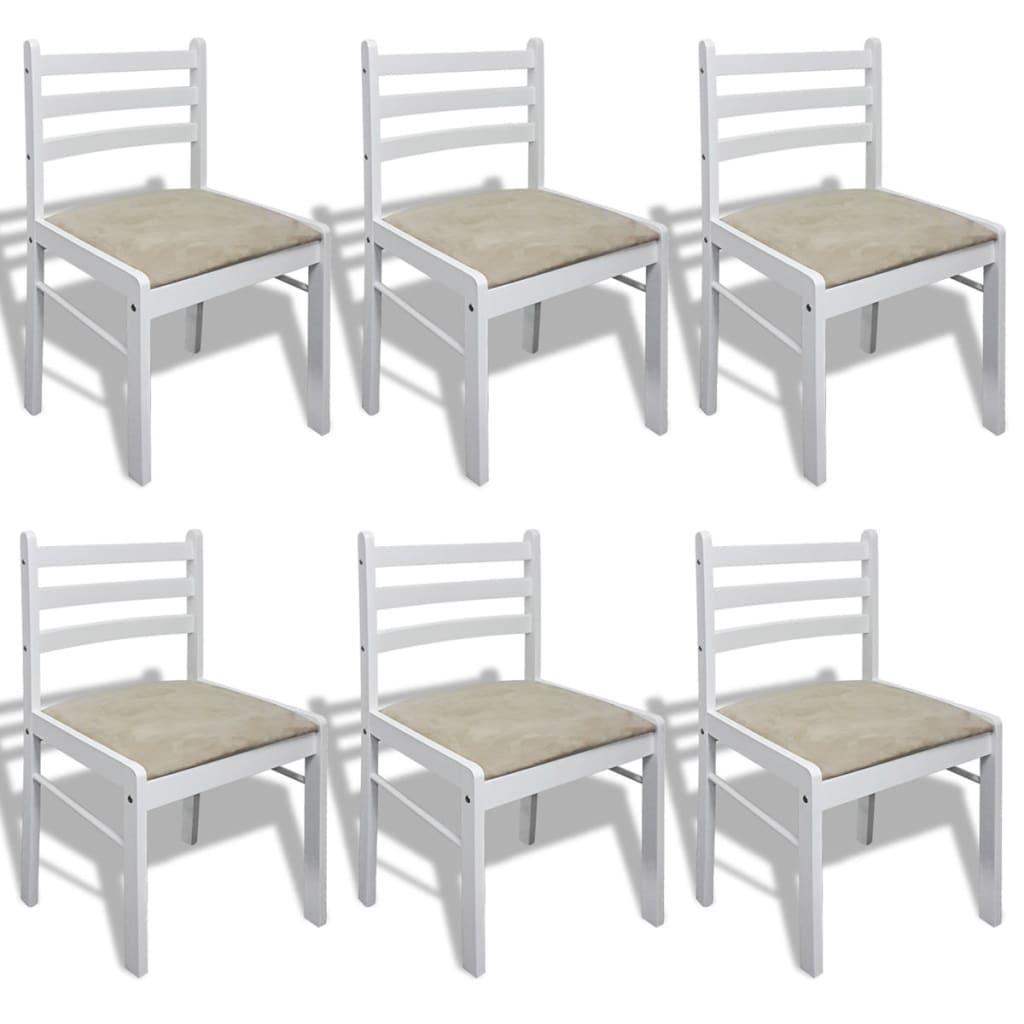 Vidaxl 6x sedie da pranzo in legno quadrate bianche cucina for Sedie da pranzo economiche