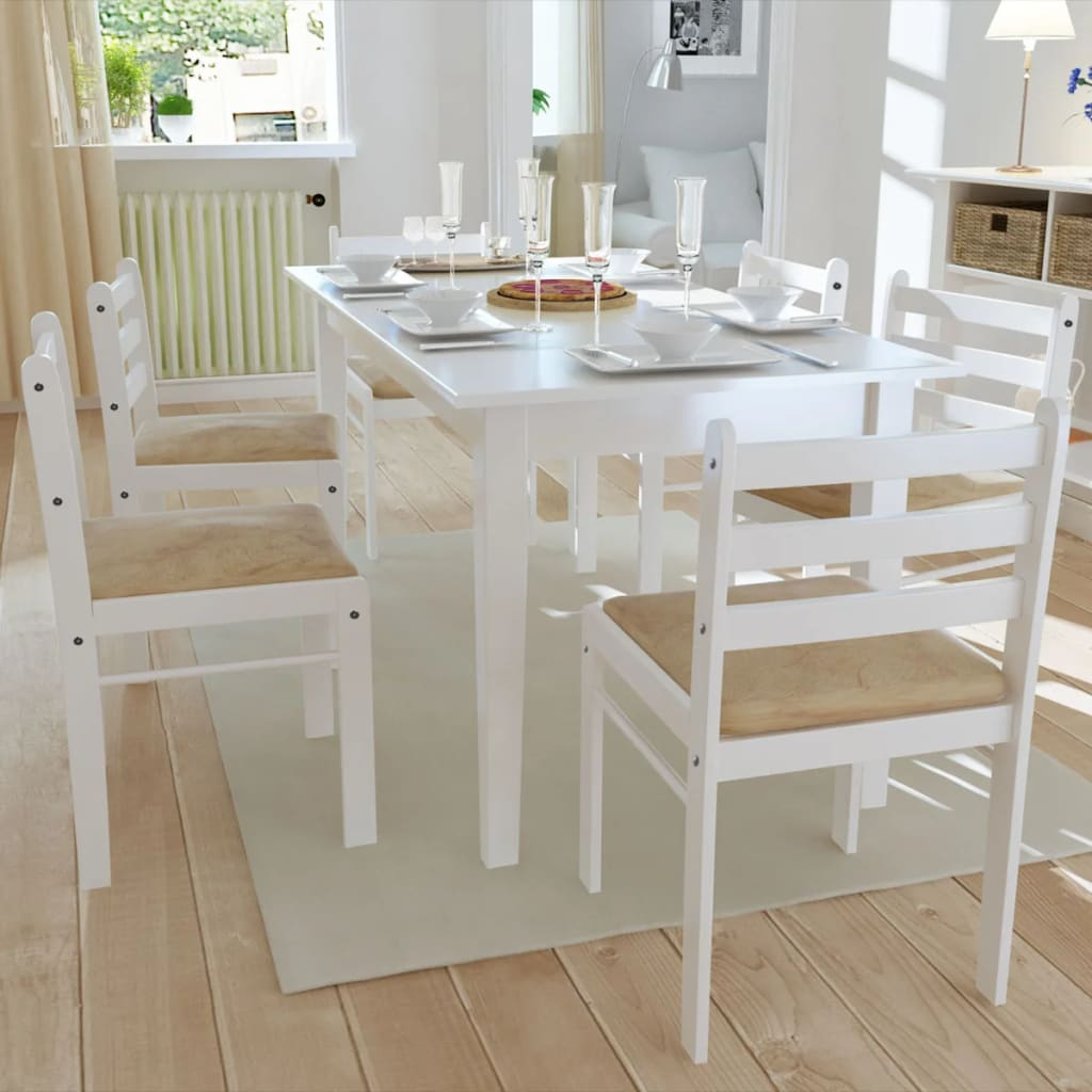 vidaXL Esszimmerstühle 6 Stk. Holz Weiß Viereckig