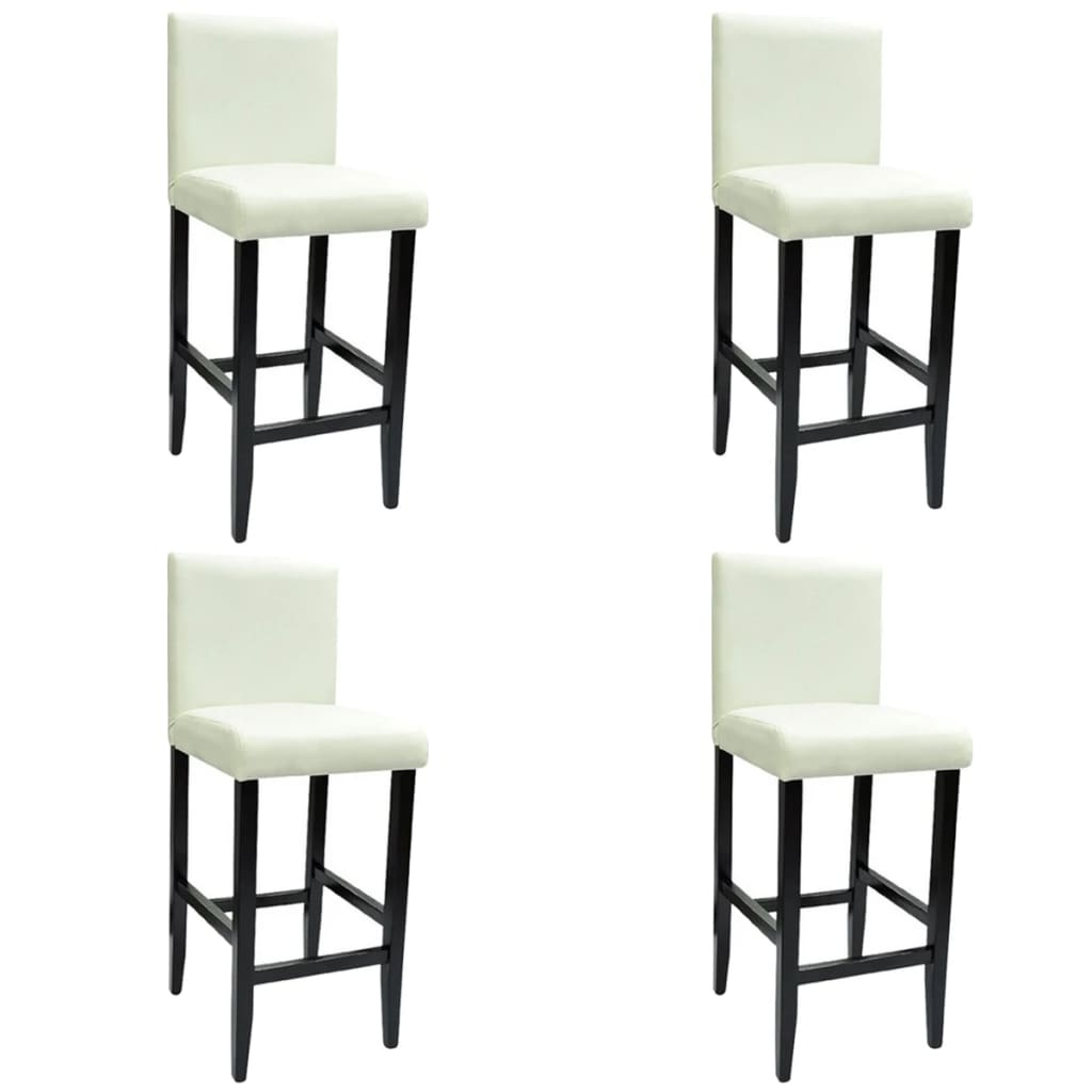 4 modern white bar stools artificial leather
