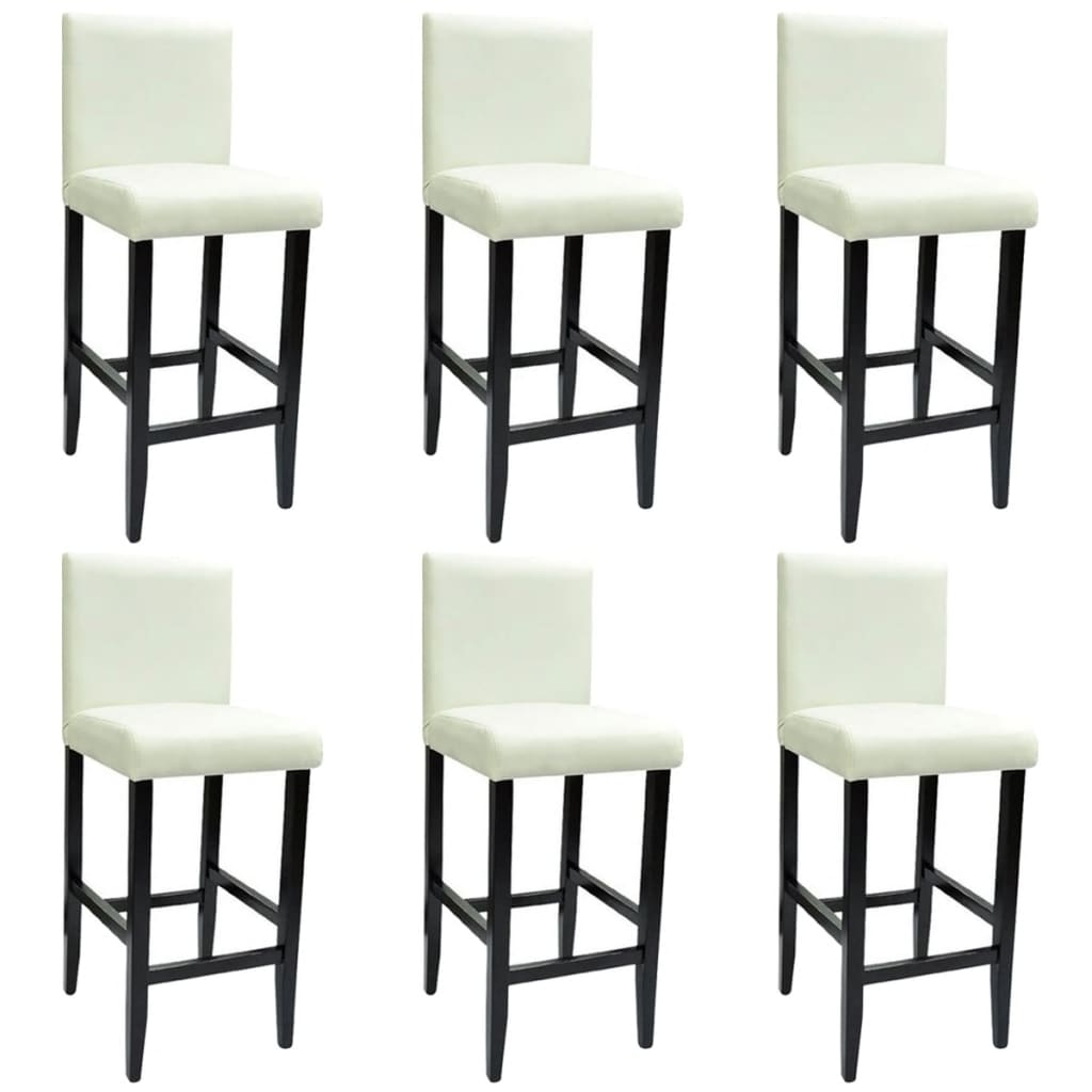6 modern white bar stools artificial leather