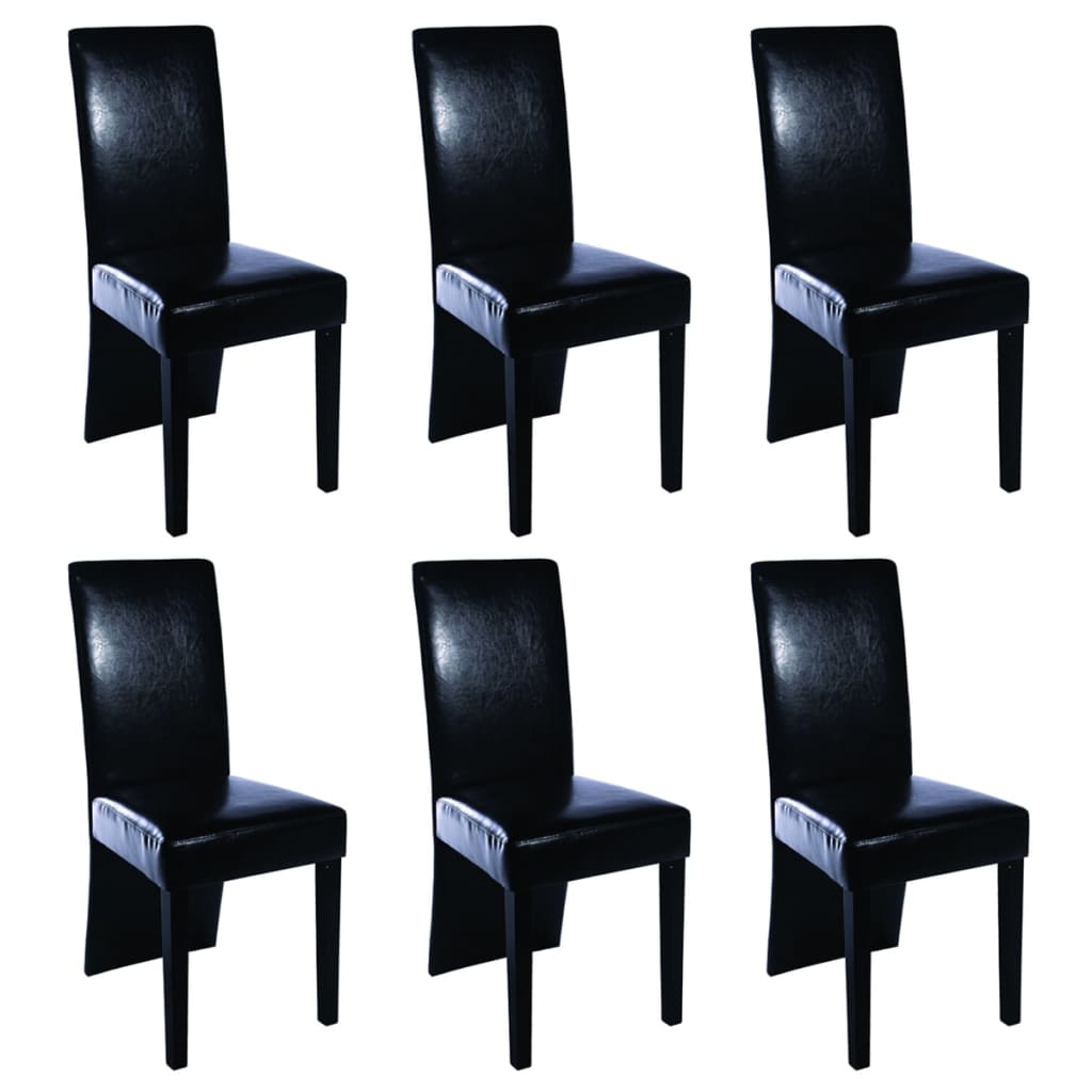 6 artificial leather wooden dining chairs black for Black leather dining chairs